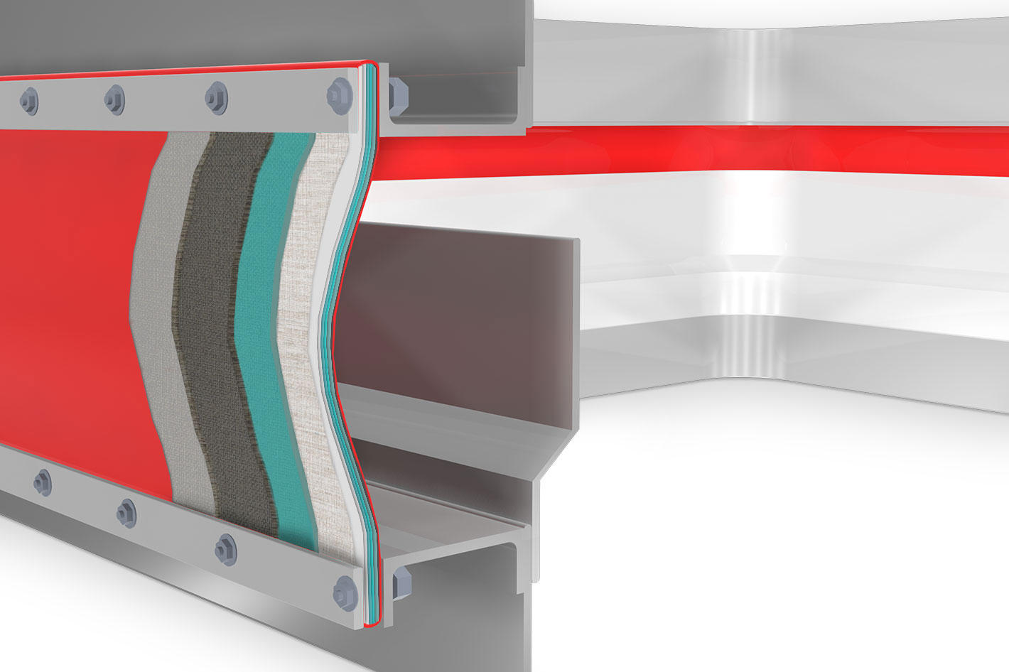Fabric expansion joint profile 7: Showing the layers